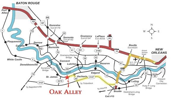 Map & Directions | Oak Alley Plantation