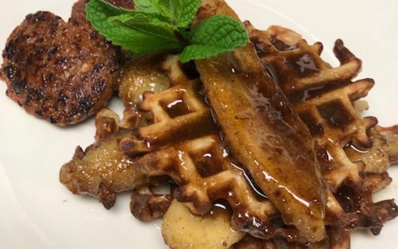Bananas Foster Stuffed Waffles
